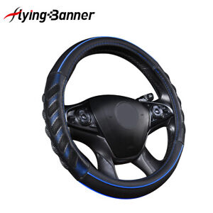 Car Steering Wheel Cover Universal Accessories Leather Piping Sporty Black Blue