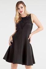Roman Originals Ladies Lace Yoke Skater Dress Black