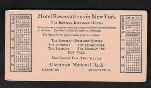 """1929 Allentown(PA) National Bank """"Hotel Reservations in NY"""" Calendar Blotter"""