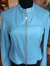GORGEOUS DANIER Leather Jacket Baby Blue Size 6 or Small  FABULOUS & STUNNING!