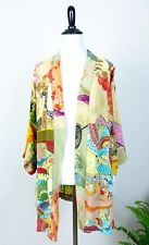 Vintage Colorful Asian Print Open Front Short Sleeve Kimono By Sterling