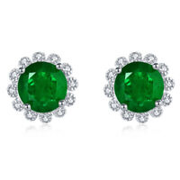Women Emerald Stud Earrings Sunflower Design Silver Green Stone Wedding Jewelry