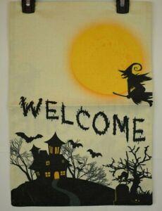 "Halloween Welcome Garden Flag Double Sided Burlap 12"" x 18"""