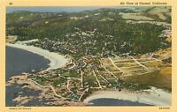 Linen Postcard California H715 Birds Eye Air View of Carmel Ocean Curteich Beach