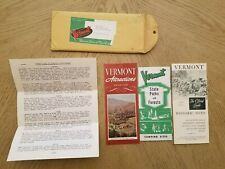 4 VTG 1965 OFFICIAL Vermont State Historic Sites State Parks Tourist Map Guide +