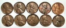 Lincoln Wheat Cent Penny - Lot of 10 Coins - Mixed Dates: 1944 - 1958 (lot# 35)