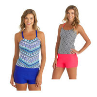Plus Size Womens Tribal Print Tankini With Boyshort Bikini Set Swimwear Swimsuit