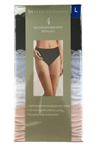 Karen Neuburger Women's Microfiber Brief Panties with Lace, 4-Pack