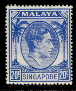 SINGAPORE GVI SG24a, 20c bright blue, VLH MINT. Cat £14.