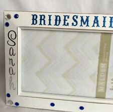 Handcrafted Sarah Bridesmaid White Blue Silver Photo Frame Size 4 X 6 Free Ship