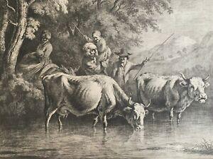 Jean Jaques de Boissieu 1736-1810 etching Crossing the Stream 1790