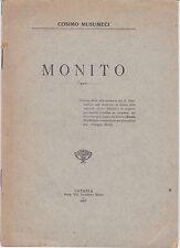 MONITO di Cosimo Musumeci - A CARLO DEL CROIX POETA DELLA GLORIA -  Catania 1927