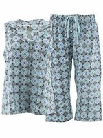Hanes Womens Aqua Damask Capri Woven Cotton Pajamas