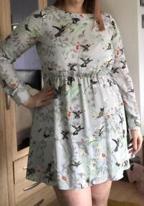 Oasis Pale Green Chiffon Bird Print Long Sleeve Dress Size 14