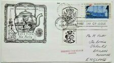 UNITED STATES 1973 BOSTON TEA PARTY COVER WITH BRITISH TAX STAMP LABELS