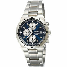 SEIKO SNA695 Alarm Chronograph Blue and Silver Dial Stainless Steel Watch