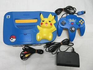 F135 Nintendo 64 console Pokemon Pikachu Blue x Yellow N64 w/controller adapter