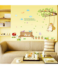 5700024 | Wall Stickers Nursery Kid Theme Girl Swinging on Branch Cats