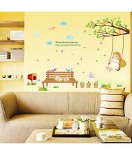 Wall Stickers Nursery Kid Theme Girl Swinging on Branch Cats 5700024