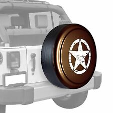 Oscar Mike Star - Painted  Tire Cover - Jeep Wrangler - Rugged Brown