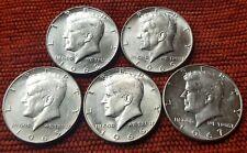 1965-1966-1967-1968-1969 5x Kennedy Half Dollar EF Coins 40% Silver US Mint Lot2