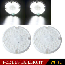"2x White 7"" Round LED Stop Turn Signal Tail Brake Bus Truck Trailer Rear Light"
