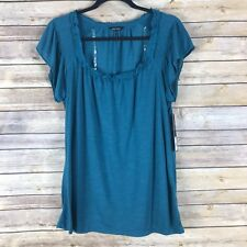 Daisy Fuentes Womens Top Stretch Knit Tee Flutter Sleeve Scoop Neck Pintuck L
