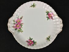 "Royal Albert Prairie Rose 10 3/8"" Double-Handled Cake Plate Pink Gold"