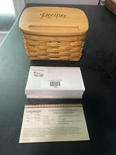 * Longaberger * Small Recipe Combo (Basket, Lid, Protector & Cards) Wb