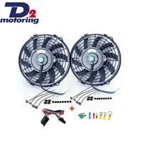 "2X9""12V Slim Push Pull Electric Radiator Cooling Fan+Mounting Kit+Relay Kit D2m"