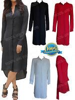 New Ladies Chiffon Long Sleeve Casual High Low Shirt Dress Womens Blouse Top