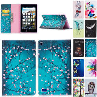Pattern Leather Flip Card Pouch Skin Case For Amazon Kindle Fire 7 2017 7th Gen