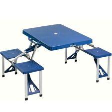Tavolo pieghevole 4 sgabelli Campeggio Pic nic sedie richiudibile a Valigetta Blu