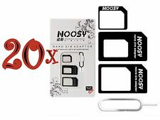 20xNOOSY 4 IN 1 Pack Nano To Micro & Standard Sim Card Adapter For Mobile Phones