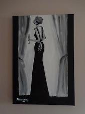 """""""La dame en noir """" tableau peinture acrylique sur toile"""