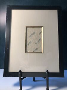 """*NEW* EXPOSURES Black Wood Photo Frame 15.5"""" x 12.5"""" Gold Trim and Ivory Mat"""