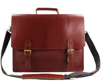 Men Cowhide Real Leather Tote Brown Shoulder Bag Messenger Bag Laptop Briefcase