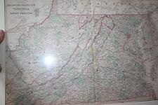 Bradley's 1887 County Map of Maryland Virginia's & Delaware Hand Colored Antique