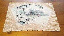 Vintage, Japanese, Pink/Ivory, Silk, House Theme, 1950's Handkerchief (17x11.5)