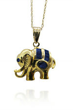"""14K Yellow Gold Elephant Sapphire Charm With 14K Yellow 18"""" Gold Chain"""
