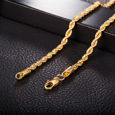 "18"" 3mm Fashion 18k Gold Plated Charms Necklace Cool Link  Chain Fashion Jewelry"