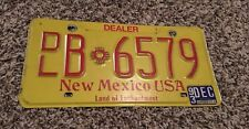 1993 New Mexico Dealer License Plate B 6579 With Registration On Back
