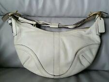 Coach Braided Leather Soho Hobo Tote Bag off White cream