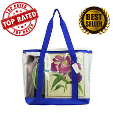 Large Clear Tote Bag with Zipper Closure Blue Zippered Grocery Plastic Hand NEW