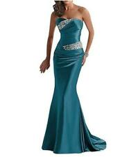 Women's Satin Strapless Evening Wedding Party Fishtail Dress Cocktail Prom W256