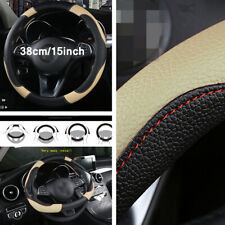 38cm Non Slip Steering Wheel Cover Wear Resistant Black/ Beige Car Accessories