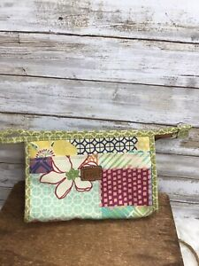 Fossil Cosmetic Make up Bag Travel Canvas Clutch Multi-color Print Zip Top