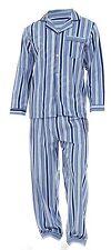 Mens Loungewear Brushed Striped Flannel Cotton Pyjama Set Winter Warm  Pjs