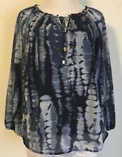 INC International Concepts size M tunic top 3/4 sleeve poly lined navy/white