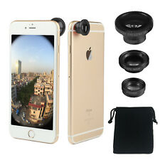 Stick on 3in1 black Fish Eye,Macro Camera,Wide Angle Lens Kit For Apple iPhone